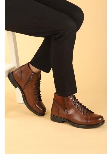 Ayakland Ayakland 510 Termo Taban ıçi Kürklü Fermuarlı Erkek Bot Ayakkabı Taba